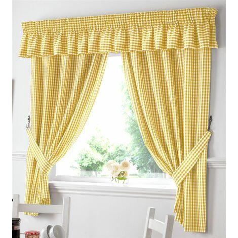 "Gingham Kitchen Curtains Yellow Pelmet 136 x 10"""