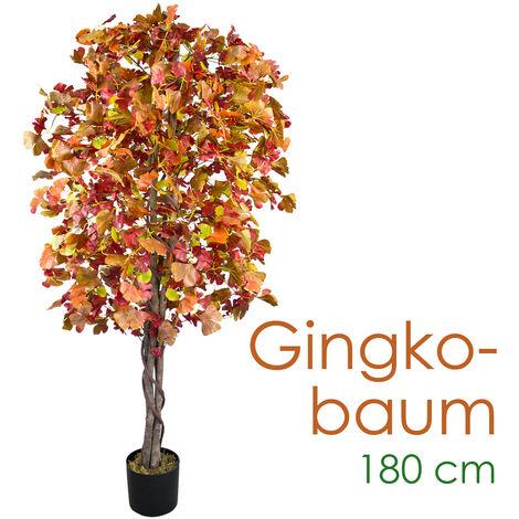 Ginkgo Ginkgobaum Kunstpflanze Kunstbaum Künstliche Pflanze mit Echtholz braune Blätter 180cm Decovego