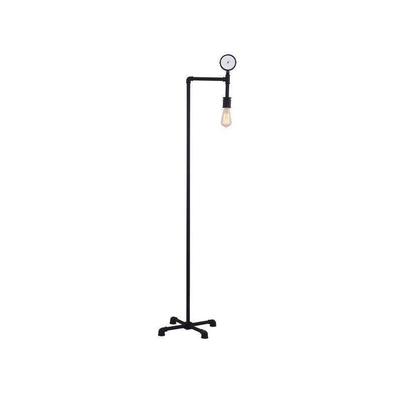 Homemania - Ginny Stehleuchte - Stehleuchte - mit Manometer - Wohnzimmer, Wohnzimmer, Stockwerk - Dunkelbraun aus Metall, 40 x 40 x 170 cm, 1 x E27,
