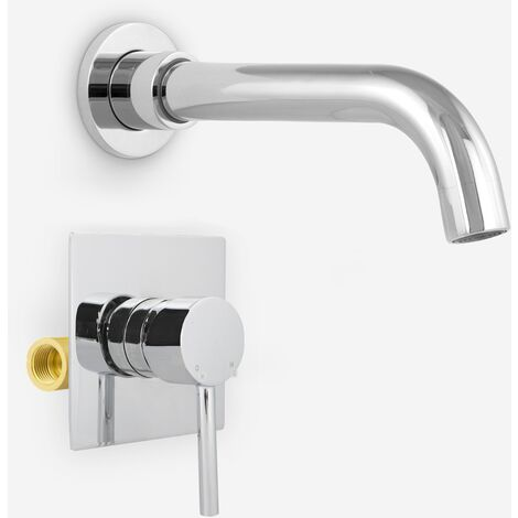 "Gio Basin Sink Modern Tap Wall Mounted Concealed Valve 1/2"" Mixer Hot And Cold"