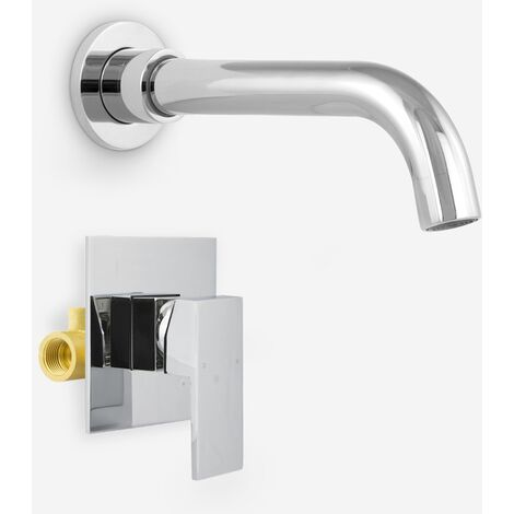 "Gio Bathroom Wall Mounted Basin Sink Mixer Tap & Concealed Valve 1/2"" Hot And Cold Mixer"