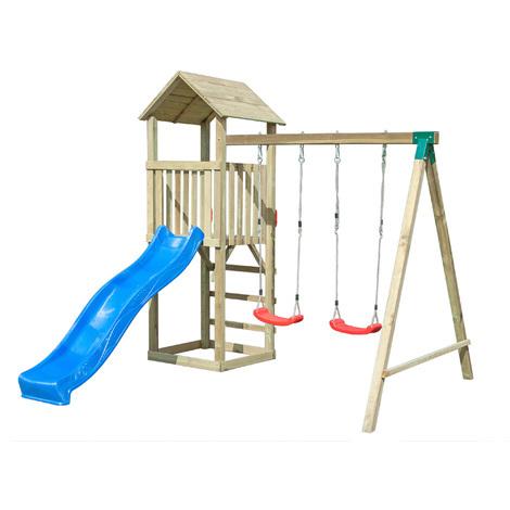 db2b5c23c3 Gioco da esterno in legno scivolo-altalena doppia con torre di avvistamento  - Onlywood