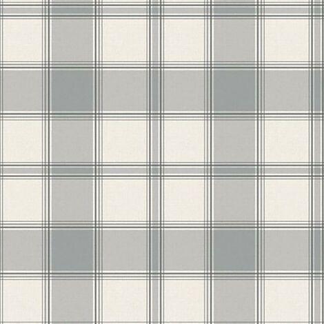 Giorgio Check Textured Wallpaper Belgravia Decor Silver Cream Vinyl Linen Effect