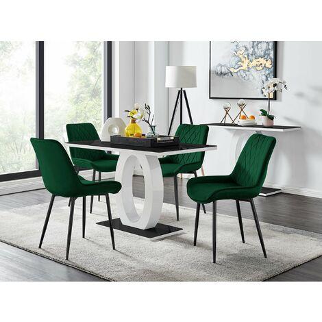 "main image of ""Giovani 4 Black Dining Table & 4 Pesaro Black Leg Chairs"""