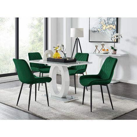 "main image of ""Giovani 4 Grey Dining Table & 4 Pesaro Black Leg Chairs"""