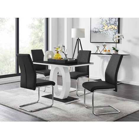 """main image of """"Giovani Black White High Gloss Glass Dining Table and 4 Lorenzo Chairs Set"""""""