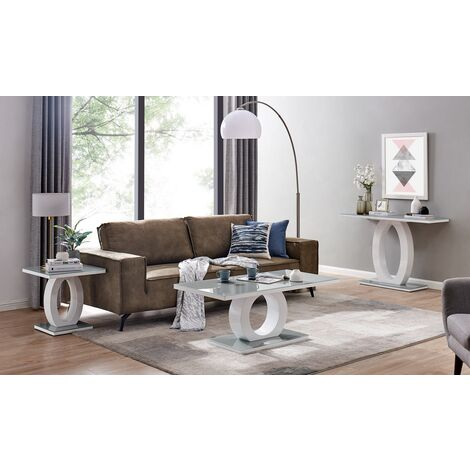 """main image of """"Giovani Grey White High Gloss Glass Console Coffee End Side Table Set"""""""