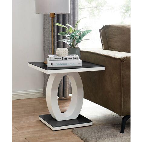 "main image of ""Giovani Modern Black White Halo High Gloss Glass Side End Table"""