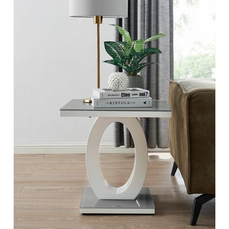 "main image of ""Giovani Modern Grey White Halo High Gloss Glass Side End Table"""