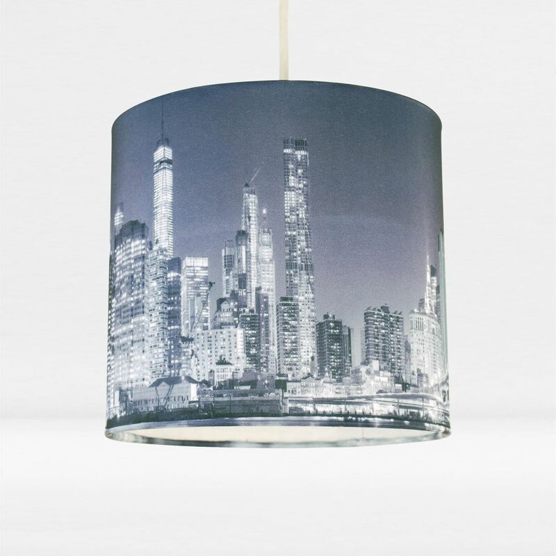 Image of 20cm Lamp Shade Ceiling Light Digital Printed Fabric New York Skyline At Night - FIRST CHOICE LIGHTING