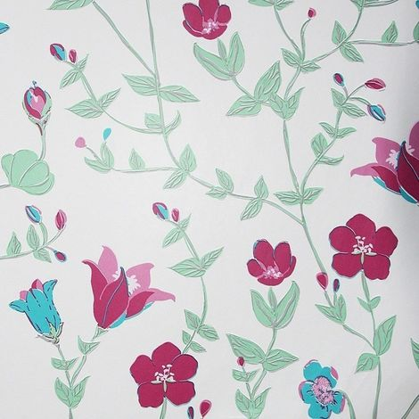 Girls Cream Floral Wallpaper Green Pink Leaf Plants Vintage Chic Paste The Wall