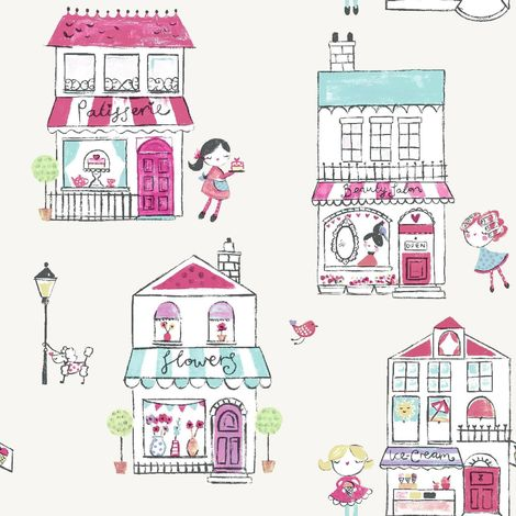 Girls Cream Pink Floral Animal Shop Front Wallpaper Children's Holden Boutique