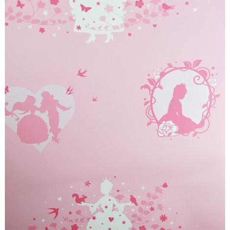 Girls Pink Fairy Wallpaper Hearts Stars Princess Flowers Rose Metallic Ugepa