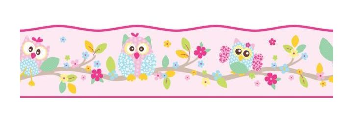 Girls Pink Floral Patchwork Owl Self Adhesive Border Wallpaper Fun 4 Walls - WL-BO50100
