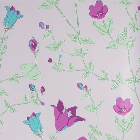 Girls Pink Floral Wallpaper Green Purple Leaf Plants Vintage Chic Paste The Wall