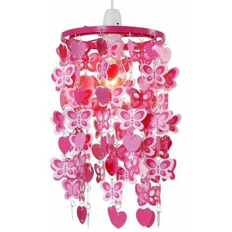 Girls Pink Red Hearts Butterflies Ceiling Light Pendant Lampshade New