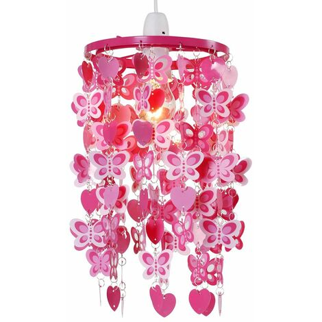 Girls Pink Red Hearts Butterflies Ceiling Light Pendant Lampshade New - Pink
