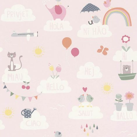 Girls Pink Wallpaper Clouds Rainbows Birds Cats Butterflies Children's Nursery