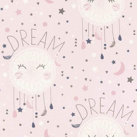 Girls Pink Wallpaper Dream Catcher Stars Moon Typography White Grey Rasch