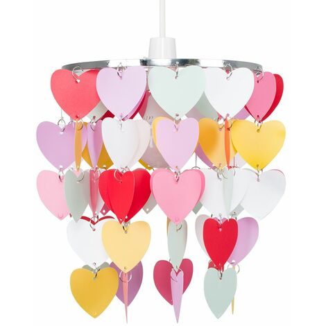 Girls Bedroom Pink Red White Hearts Ceiling Light Shade Pendant Lampshade