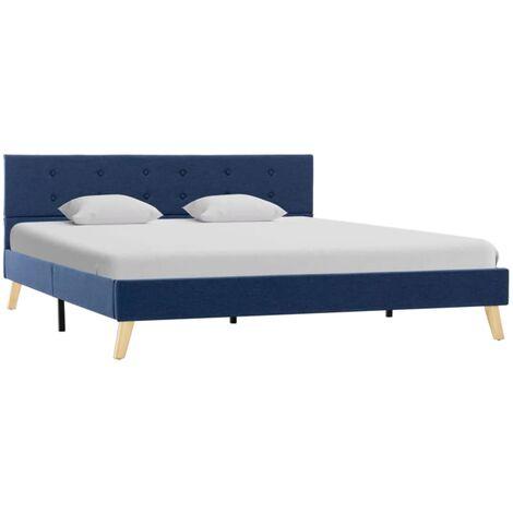 vidaXL Letto imbottito con LED classico letto matrimoniale tessuto blu letto matrimoniale rete a doghe di legno telaio letto 180 x 200 cm