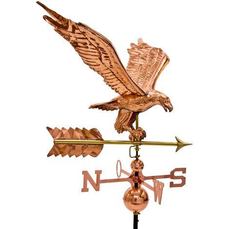 """main image of """"Girouette aigle géant 3D en cuivre avec pied, hauteur totale 140 cm, poids 5kg"""""""