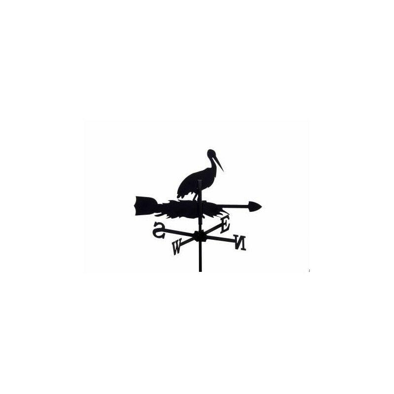 Outils Et Nature - Girouette cigogne sur son nid en fer forgé petit modèle