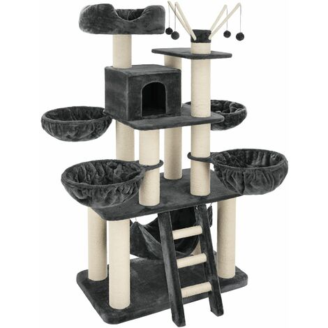 Cat tree Gismo - cat scratching post, cat house, cat tower - grey/white - grey/white