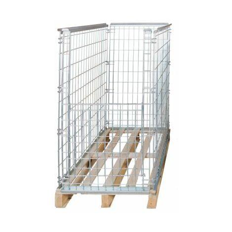 Gitter-Aufsatzrahmen für EUR-Tauschpalette - mit Klappe an 1 Frontwand, Nutzhöhe