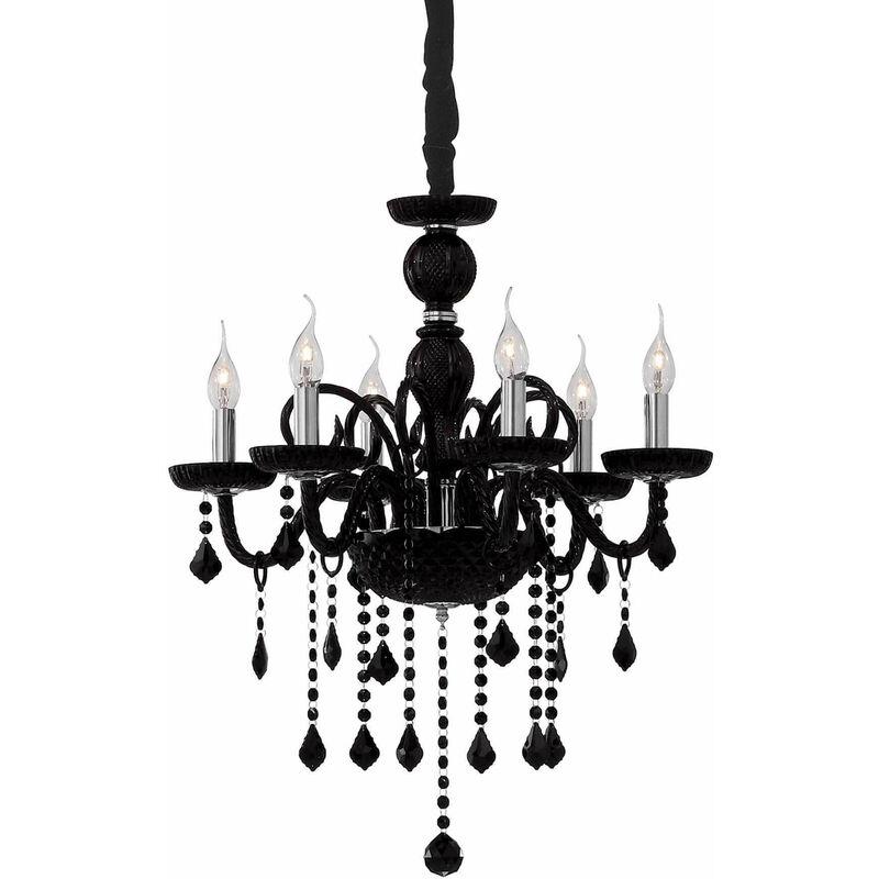 GIUDECCA schwarze Kristall Pendelleuchte 6 Glühbirnen - 01-IDEAL LUX