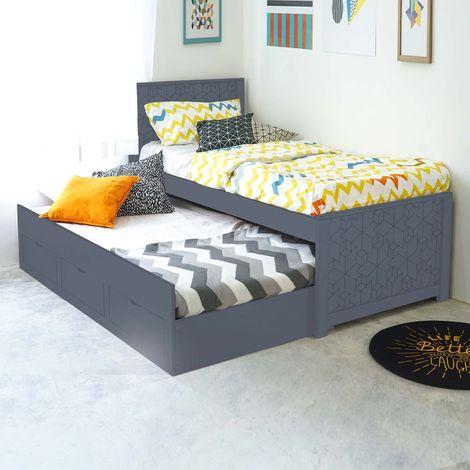 GIULIA - Lit gigogne avec rangement en bois gris 90 x 190 cm