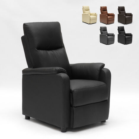 GIULIA Recliner Relax Chair with Footrest included made of High-Quality Faux Leather