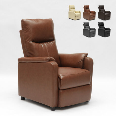 GIULIA Recliner Relax Chair with integrated Footrest made of High-Quality Eco Leather