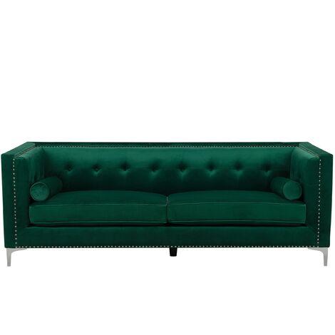 Glam 3 Seater Velvet Sofa Nailhead Trim Button Tufted Emerald Green Avaldsenes
