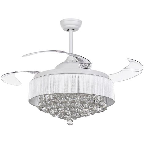 Glam Ceiling Fan with Light Speed Control Light Adjustment White Peel