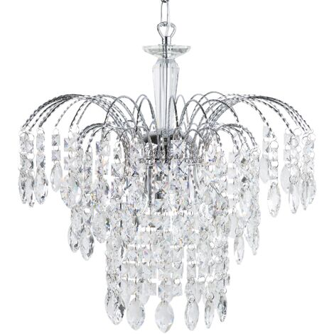Glam Chandelier Glass Crystal Drops Hanging Light Lamp Silver Rivil