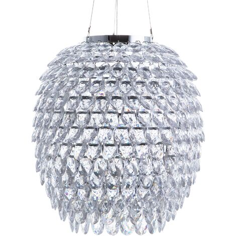"""main image of """"Glam Chic Pendant Light Crystals Lampshade Silver Chrome Sauer"""""""