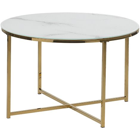 Glam Coffee Table Round 70 cm Marble Effect White Gold Legs Modern Quincy
