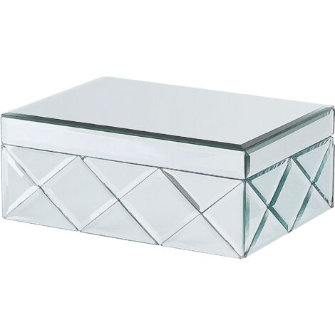 Glam Decorative Mirrored Jewellery Storage Box Glass Steel Silver Gorron