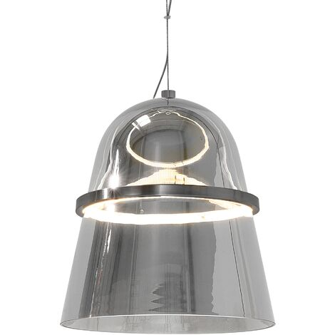 Glam Hanging Lamp Ceiling Light Glass Bell Shaped Shiny One Bulb Grey Ardilla