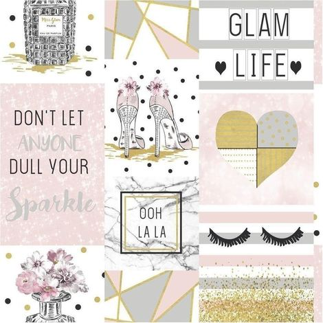 Glam Life Wallpaper Pink Gold Silver Glitter Marble Hearts Apex Quotes Arthouse