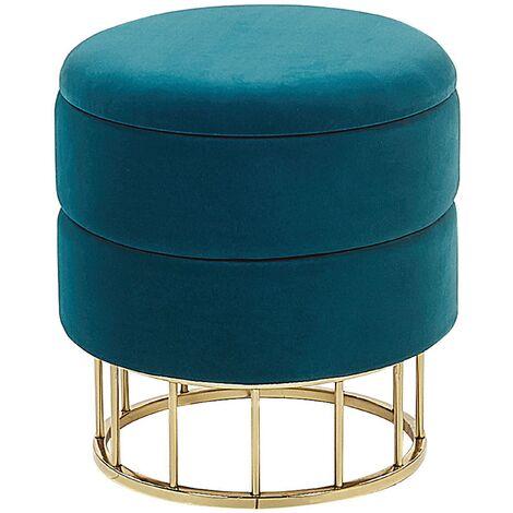 "main image of ""Glam Living Room Pouffe with Storage Round ø 37cm Velvet Teal Blue Gold Elgin"""
