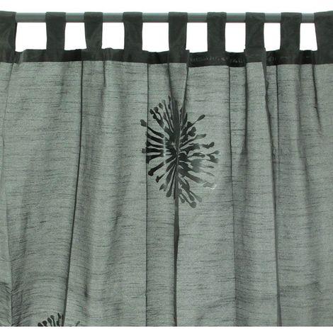 GLAM - <p>Rideau à pattes à motifs fleurs stylisées noir 140x250</p> - Noir