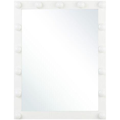 Glam Rectangular Wall Vanity Mirror White Frame LED Light Bulbs Odenas