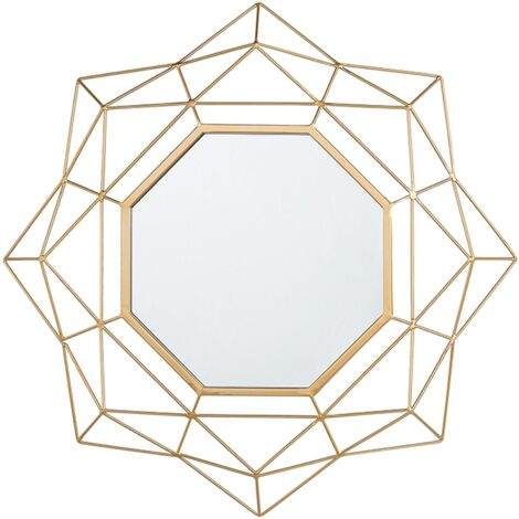 Glam Retro Gold Geometric Accent Decorative Wall Mirror Hillion