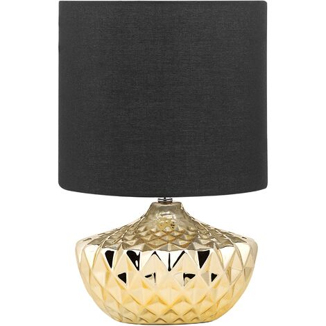 Glam Table Light Bedside Lamp Golden Ceramic Base Black Fabric Shade Vaal