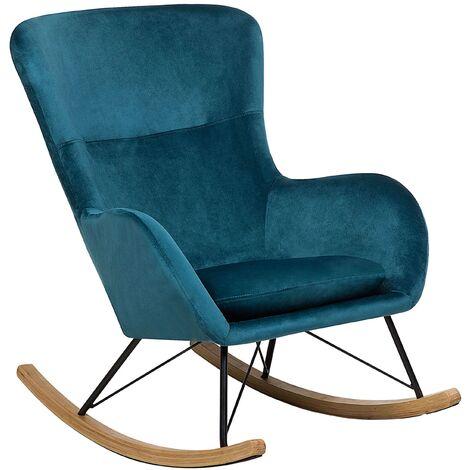 Glam Traditional Rocking Chair Velvet Fabric Wooden Rockers Sea Blue Ellan