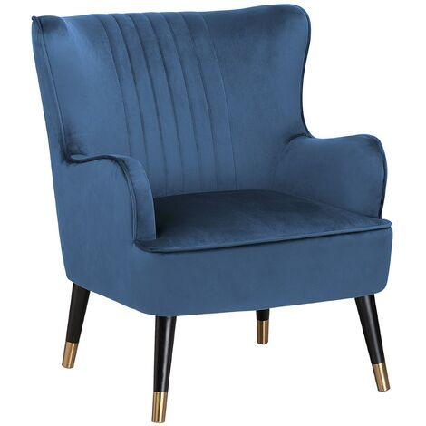Glam Velvet Blue Wingback Chair Channel Back Black Legs with Gold Varberg