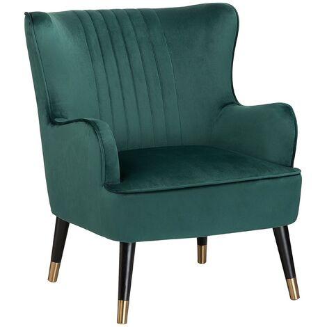 Glam Velvet Emerald Green Wingback Chair Channel Back Black Legs with Gold Varberg