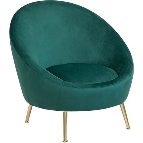 Glam Velvet Fabric Accent Tub Chair Emerald Green Upholstery Gold Legs Flam